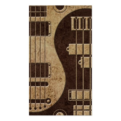 Guitar and Bass Yin Yang with Brown Texture Business Card Template