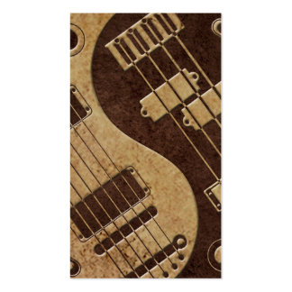 Guitar and Bass Yin Yang with Brown Texture Pack Of Standard Business Cards
