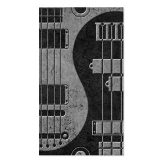 Guitar and Bass Yin Yang with Dark Texture Business Card