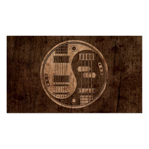 Guitar and Bass Yin Yang with Wood Grain Effect Business Card Templates
