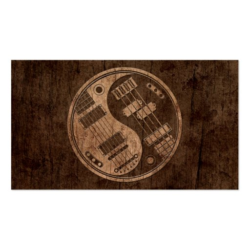 Guitar and Bass Yin Yang with Wood Grain Effect Business Card Template