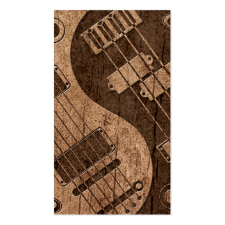 Guitar and Bass Yin Yang with Wood Grain Effect Pack Of Standard Business Cards