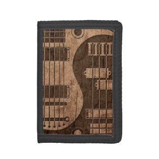 Guitar and Bass Yin Yang with Wood Grain Effect Tri-fold Wallets