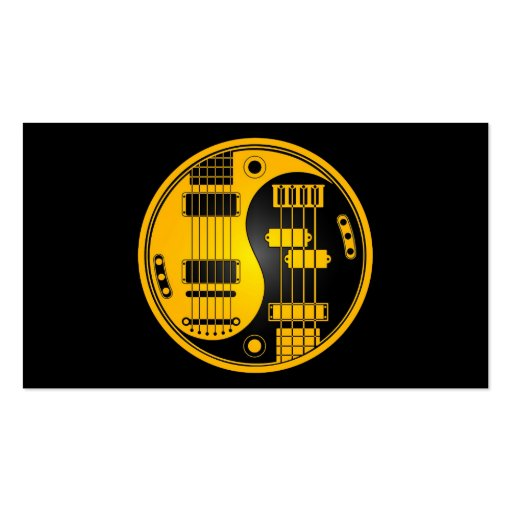 Guitar and Bass Yin Yang Yellow and Black Business Cards