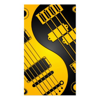Guitar and Bass Yin Yang Yellow and Black Business Card Templates