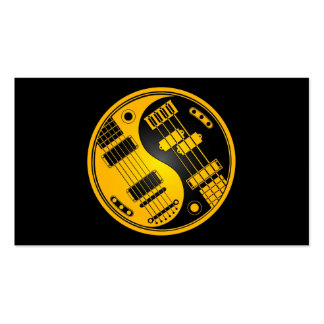 Guitar and Bass Yin Yang Yellow and Black Business Card Template