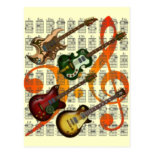 Guitar and Chord 07 Postcards