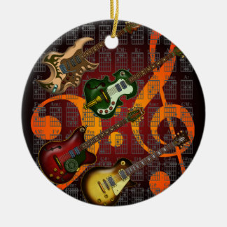 Guitar and Chord 07 Round Ceramic Decoration