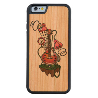 guitar and flowers carved cherry iPhone 6 bumper case