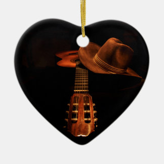 Guitar and hat christmas ornament
