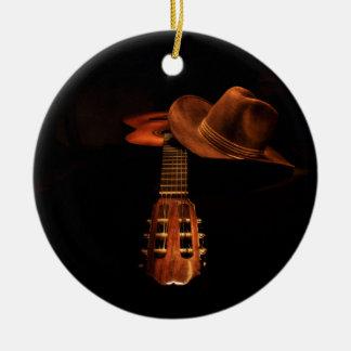 Guitar and hat round ceramic decoration