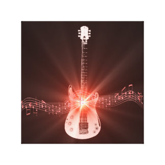 Guitar and Musical Notes Artwork Canvas Print