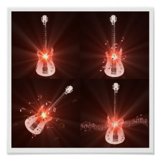 Guitar and Musical Notes Poster