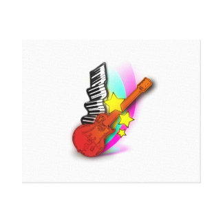 Guitar and Piano Stretched Canvas Print