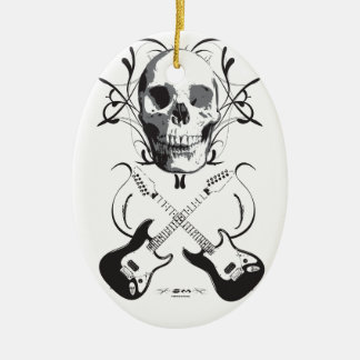 Guitar and Skull Design Christmas Ornament