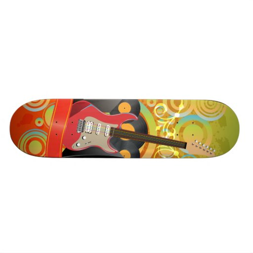 guitar and speakers with funky background skate deck