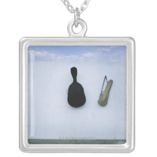 Guitar and Violin Case Silver Plated Necklace