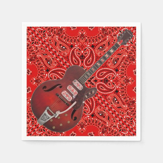 Guitar Bandanna Country Music BBQ Picnic Paisley Disposable Napkin