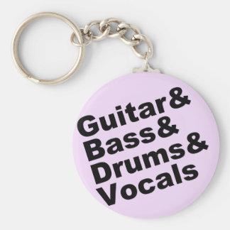 Guitar&Bass&Drums&Vocals (blk) Key Ring