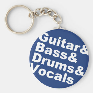 Guitar&Bass&Drums&Vocals (wht) Key Ring