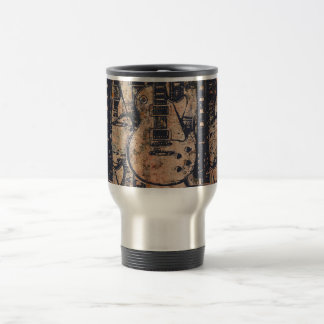 Guitar Black Collage Grunge Travel Mug