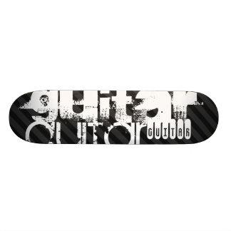 Guitar; Black & Dark Gray Stripes Custom Skate Board