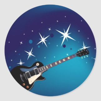 Guitar - Blue Round Sticker