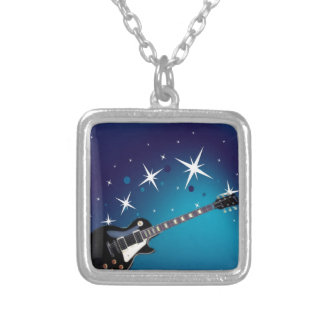 Guitar - blue silver plated necklace