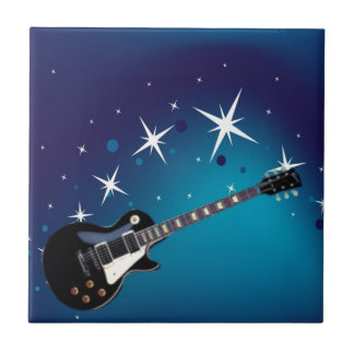 Guitar - blue small square tile