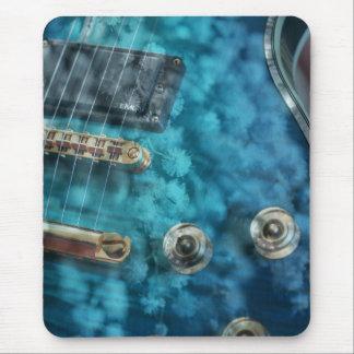 Guitar, Blue with Flowers - Australian Wattle Mousepad