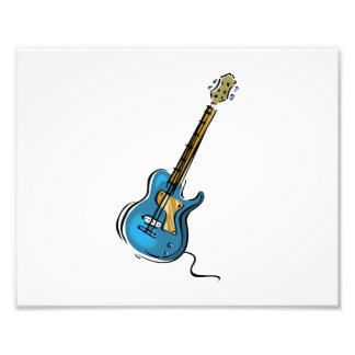 Guitar blue yellow shaded graphic photograph