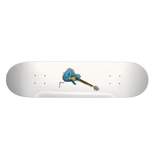 Guitar blue yellow shaded graphic skate board decks
