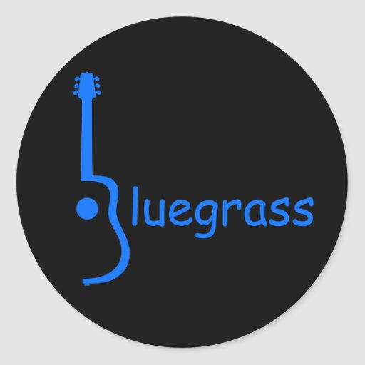 Guitar Bluegrass Round Sticker