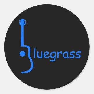 Guitar Bluegrass Round Stickers