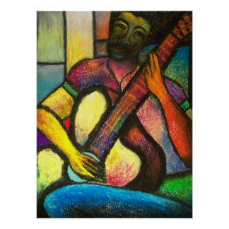 Guitar Blues Player Poster