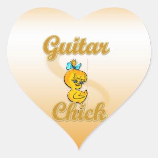 Guitar Chick Heart Sticker