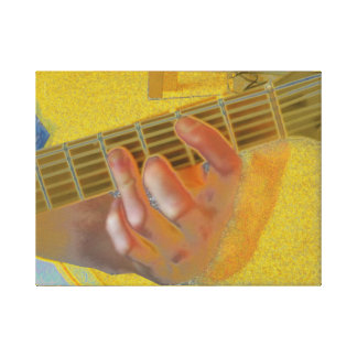 Guitar Chord Hand Yellow Canvas Print