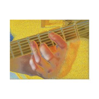 Guitar Chord Hand Yellow Canvas Print