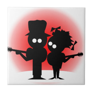 Guitar Duo Small Square Tile