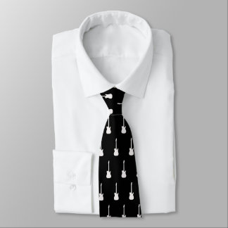 Guitar Electric silhouette Pattern Tie