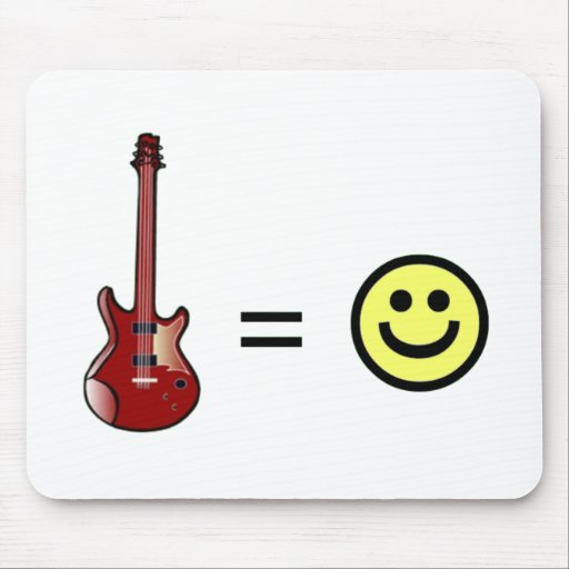 Guitar Equals Happiness Mouse Pads