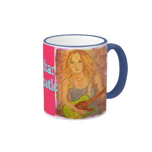 Guitar Fanatic Girl Ringer Coffee Mug
