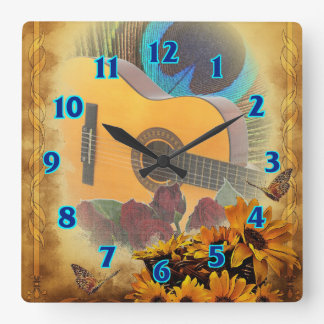 Guitar Floral Square Wall Clock