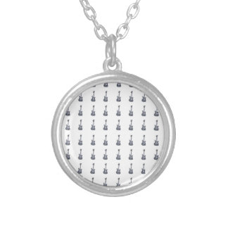 Guitar frame silver plated necklace