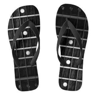 Guitar Fretboard Monochrome Flip flops