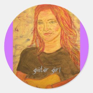 guitar girl art stickers