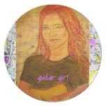 guitar girl drip painting plates