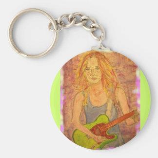 Guitar Girl Key Ring
