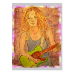 Guitar Girl peace on earth Post Cards