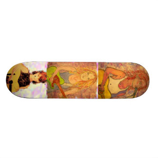 guitar girls collage custom skate board